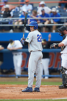 JJ Schwarz (22) of the Florida Gators looks to his third base coach for the signs during the game against the Wake Forest Demon Deacons in the completion of Game Two of the Gainesville Super Regional of the 2017 College World Series at Alfred McKethan Stadium at Perry Field on June 12, 2017 in Gainesville, Florida. The Demon Deacons walked off the Gators 8-6 in 11 innings. (Brian Westerholt/Four Seam Images)