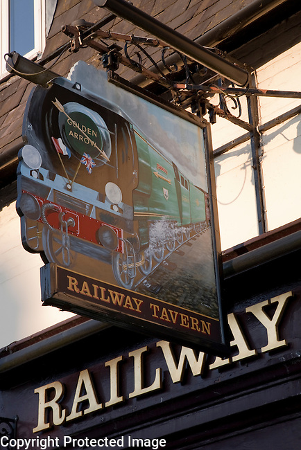 Railway Tavern Pub Sign in Salisbury, England, UK