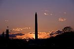 Washington D. C., Washington Monument at dusk
