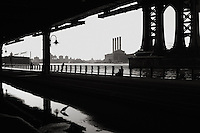 Power station on the East River viewed from the underpass on the west shore.