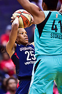 Washington, DC - June 15, 2018: Washington Mystics forward Monique Currie (25) looks to pass the ball during game between the Washington Mystics and New York Liberty at the Capital One Arena in Washington, DC. (Photo by Phil Peters/Media Images International)