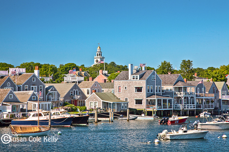 View of Nantucket Town and the Unitarian Church steeple from Nantucket Harbor, Nantucket, MA, USA