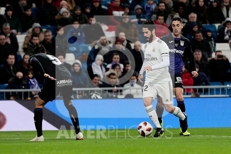 Real Madrid's Francisco Alarcon 'Isco' and CD Leganes's Jonathan Cristian Silva during Copa Del Rey match between Real Madrid and CD Leganes at Santiago Bernabeu Stadium in Madrid, Spain. January 09, 2019. (ALTERPHOTOS/A. Perez Meca)