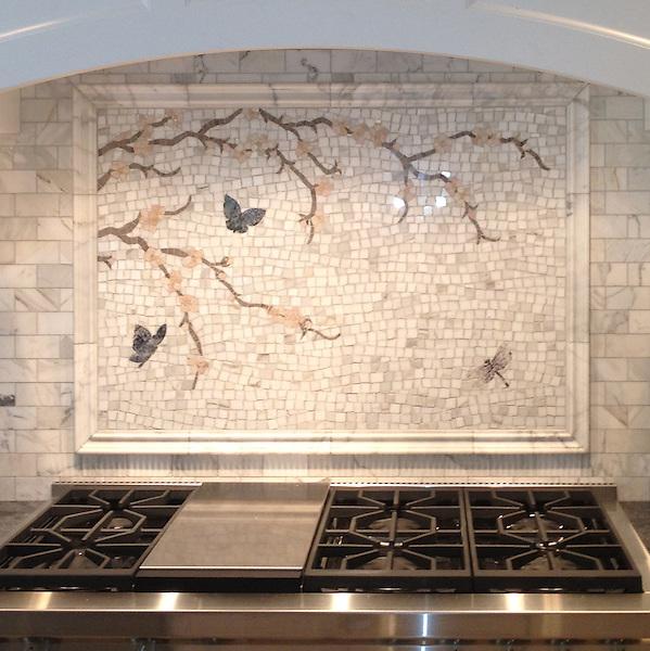 Custom Butterfly/Plum Blossom hand cut stone mosaic, shown in Calacatta Tia, Driftwood, Rosa Portagallo, Blue Bahia, Blue Macauba, and Lavender Mist.<br /> -photo courtesy of Architectual Ceramics