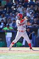 Miguel Aparicio (36) of the Spokane Indians bats against the Hillsboro Hops at Ron Tonkin Field on July 23, 2017 in Hillsboro, Oregon. Spokane defeated Hillsboro, 5-3. (Larry Goren/Four Seam Images)