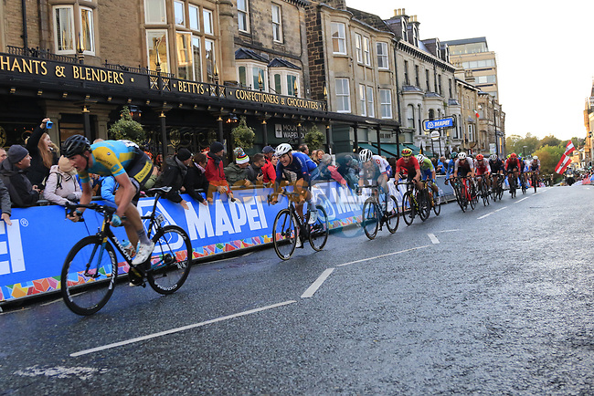 The chase group led by Yevgeniy Fedorov (KAZ) climbs Parliment Street on the Harrogate circuit during the Men U23 Road Race of the UCI World Championships 2019 running 186.9km from Doncaster to Harrogate, England. 27th September 2019.<br /> Picture: Eoin Clarke | Cyclefile<br /> <br /> All photos usage must carry mandatory copyright credit (© Cyclefile | Eoin Clarke)