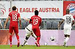 23.05.2020, Allianz Arena, München, GER, 1.FBL, FC Bayern München vs Eintracht Frankfurt 23.05.2020 , <br /><br />Nur für journalistische Zwecke!<br /><br />Gemäß den Vorgaben der DFL Deutsche Fußball Liga ist es untersagt, in dem Stadion und/oder vom Spiel angefertigte Fotoaufnahmen in Form von Sequenzbildern und/oder videoähnlichen Fotostrecken zu verwerten bzw. verwerten zu lassen. <br /><br />Only for editorial use! <br /><br />DFL regulations prohibit any use of photographs as image sequences and/or quasi-video..<br />im Bild<br />Leon Goretzka (München), Martin Hinteregger (Frankfurt) erzielt das Tor zum 3:2, Alphonso Davies (München), Almamy Toure (Frankfurt) <br /> Foto: Peter Schatz/Pool/Bratic/nordphoto