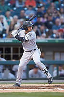 L.J. Mazzilli (3) of the Scranton/Wilkes-Barre RailRiders at bat against the Charlotte Knights at BB&T BallPark on April 14, 2018 in Charlotte, North Carolina.  The RailRiders defeated the Knights 10-5.  (Brian Westerholt/Four Seam Images)