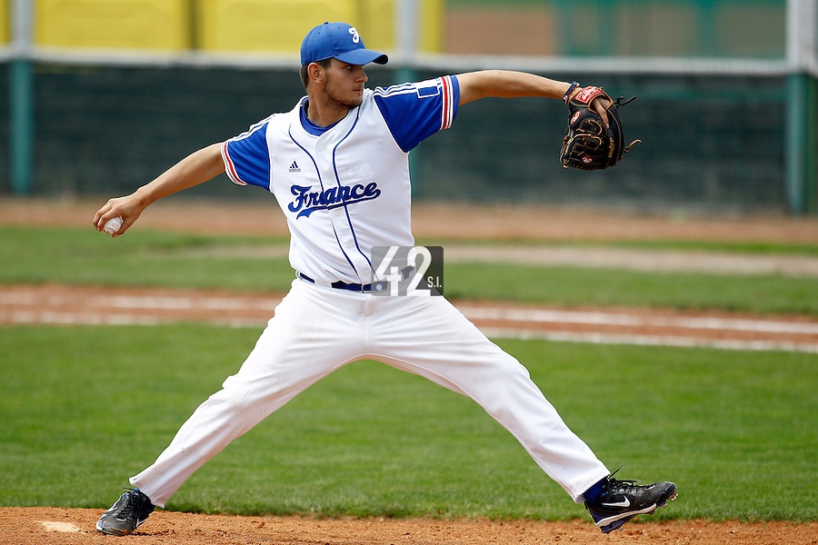 23 June 2011: Quentin Becquey of Team France pitches against USSSA during USSSA 5-3 win over France, at the 2011 Prague Baseball Week, in Prague, Czech Republic.