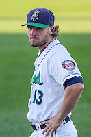 Cedar Rapids Kernels outfielder Max Murphy (13) prior to game five of the Midwest League Championship Series against the West Michigan Whitecaps on September 21st, 2015 at Perfect Game Field at Veterans Memorial Stadium in Cedar Rapids, Iowa.  West Michigan defeated Cedar Rapids 3-2 to win the Midwest League Championship. (Brad Krause/Four Seam Images)