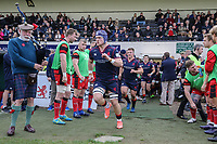 Matt Eliet of London Scottish enters the field of play ahead of the Greene King IPA Championship match between London Scottish Football Club and Hartpury RFC at Richmond Athletic Ground, Richmond, United Kingdom on 28 October 2017. Photo by David Horn.