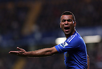 Wednesday 09 January 2013<br /> Pictured: Ashley Cole of Chelsea protesting to the linesman<br /> Re: Capital One Cup semifinal, Chelsea FC v Swansea City FC at the Stamford Bridge Stadium, London.