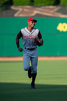 Arkansas Travelers outfielder Kyle Lewis (2) jogs back to the dugout during a Texas League game between the Northwest Arkansas Naturals and the Arkansas Travelers on May 30, 2019 at Arvest Ballpark in Springdale, Arkansas. (Jason Ivester/Four Seam Images)
