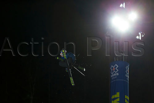 28.02.2016. Wyller Oslo Winter Park, Oslo, Norway. Red Bull X Games. Men's Ski SuperPipe Final. Torin Yater-Wallace of United States soars high above the crowd during the Red Bull X Games Oslo 2016 at the Wyller Oslo winter park in Oslo, Norway.