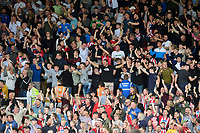 Lincoln City fans celebrate their teams goal, scored by Tyler Walker<br /> <br /> Photographer Chris Vaughan/CameraSport<br /> <br /> The EFL Sky Bet League One - Lincoln City v Fleetwood Town - Saturday 31st August 2019 - Sincil Bank - Lincoln<br /> <br /> World Copyright © 2019 CameraSport. All rights reserved. 43 Linden Ave. Countesthorpe. Leicester. England. LE8 5PG - Tel: +44 (0) 116 277 4147 - admin@camerasport.com - www.camerasport.com