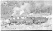 Leased D&amp;RGW K-27 #462 in Placerville awaiting helper duty.<br /> RGS  Placerville, CO  8/1946