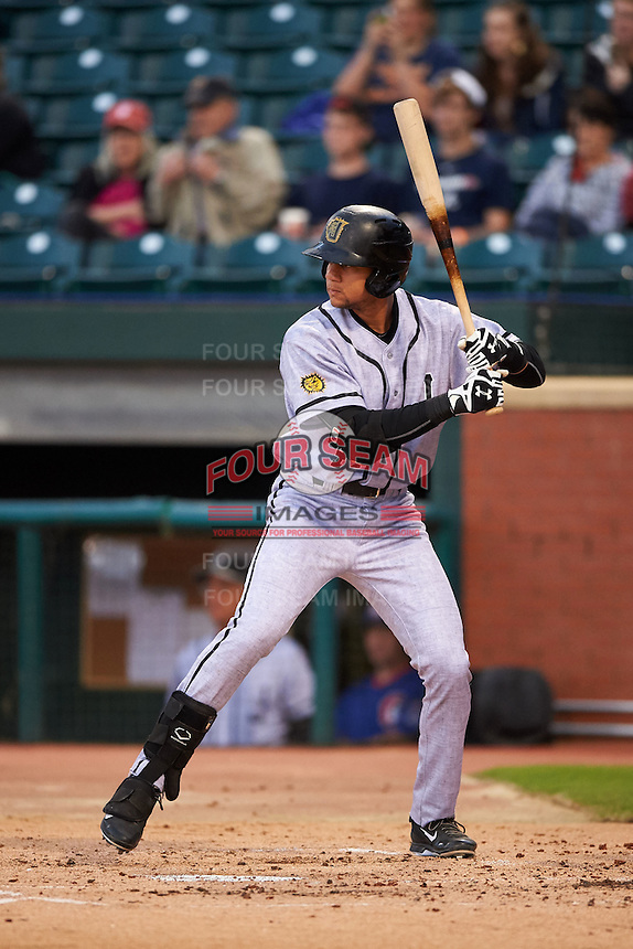 Jacksonville Suns first baseman Viosergy Rosa (44) at bat during a game against the Chattanooga Lookouts on April 30, 2015 at AT&T Field in Chattanooga, Tennessee.  Jacksonville defeated Chattanooga 6-4.  (Mike Janes/Four Seam Images)