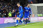 18th March 2018, King Power Stadium, Leicester, England; FA Cup football, quarter final, Leicester City versus Chelsea; Jamie Vardy of Leicester City celebrates after scoring as he makes it 1-1 in minute 76