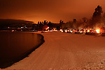 Coeur D Alene City Beach at night in winter