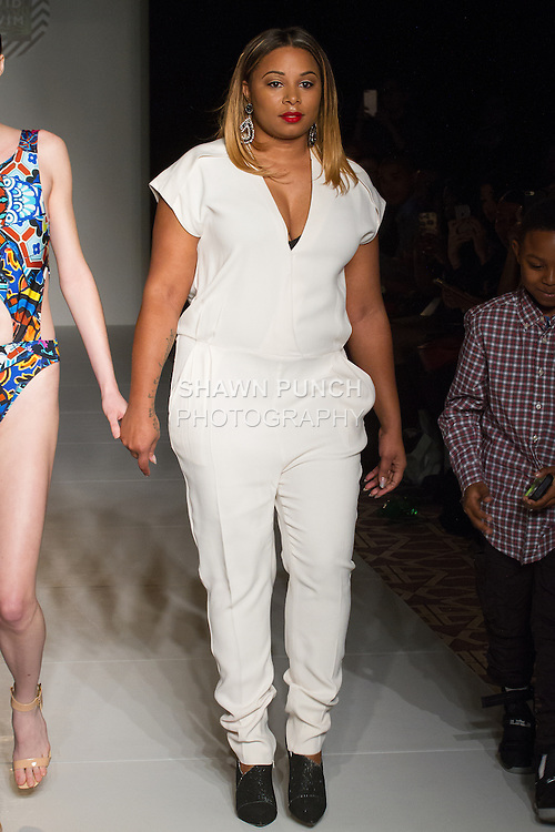 """Fashion designer Gionna Nicole walks runway with model at the close of her Avid Swim """"Cadiz Resort"""" 2017 collection fashion show, on February 10, 2017 in The Stewart Hotel during Fashion Gallery New York Fashion Week Fall Winter 2017."""