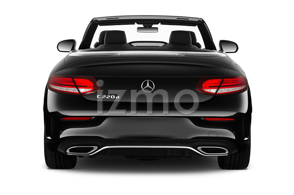 Straight rear view of 2020 Mercedes Benz C-Class C300- 2 Door Convertible Rear View  stock images