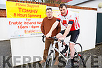 Cyclist Tommy Sheehy launched the Enable Ireland Spinathon challenge at the Enable Ireland Kerry branch in Oakview, Tralee on Thursday morning last, with Sean Scally from Enable Ireland Kerry Branch.