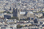 View of Notre Dame Cathedral from the Montparnasse building and observatory, Paris, France.