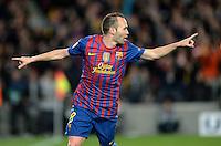 FUSSBALL   CHAMPIONS LEAGUE SAISON 2011/2012   HALBFINALE   RUECKSPIEL        FC Barcelona - FC Chelsea       24.04.2012 Torjubel: Andres Iniesta (Barca)