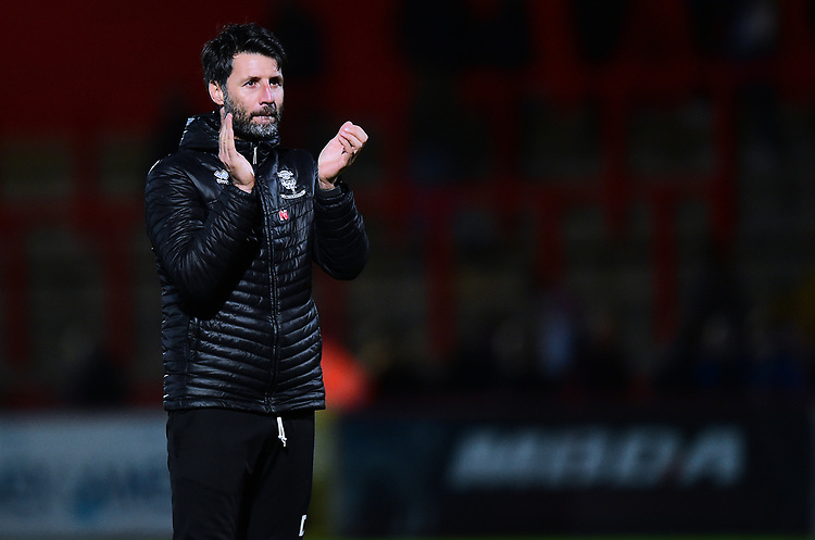 Lincoln City manager Danny Cowley applauds the fans at the final whistle<br /> <br /> Photographer Andrew Vaughan/CameraSport<br /> <br /> The EFL Sky Bet League Two - Stevenage v Lincoln City - Saturday 8th December 2018 - The Lamex Stadium - Stevenage<br /> <br /> World Copyright © 2018 CameraSport. All rights reserved. 43 Linden Ave. Countesthorpe. Leicester. England. LE8 5PG - Tel: +44 (0) 116 277 4147 - admin@camerasport.com - www.camerasport.com