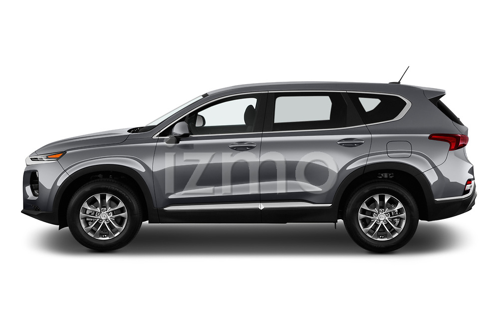 Car driver side profile view of a 2019 Hyundai Santa FE SE 4 Door SUV