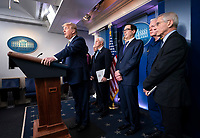 United States President Donald J. Trump delivers remarks during a briefing on the Coronavirus COVID-19 pandemic with members of the Coronavirus Task Force in the Brady Press Briefing Room at the White House in Washington, DC, March 17, 2020, in Washington, D.C. <br /> Credit: Kevin Dietsch / Pool via CNP/AdMedia