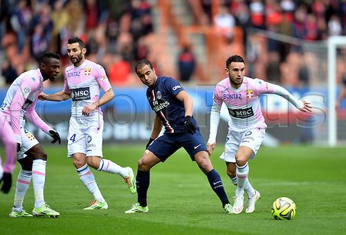 18.01.2015. Paris, France. French League 1 football. Paris St Germain versus Evian.  Adrien Thomasson (etg) and Lucas (psg)