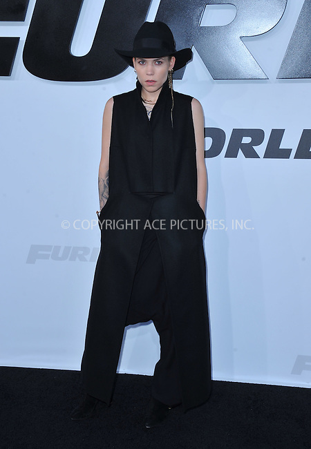 WWW.ACEPIXS.COM<br /> <br /> April 1 2015, LA<br /> <br /> Skylar Grey arriving at Universal Pictures Premiere of 'Furious 7'' at the TLC Chinese Theatre, Hollywood, on April 1, 2015 in Los Angeles.CA <br /> <br /> By Line: Peter West/ACE Pictures<br /> <br /> <br /> ACE Pictures, Inc.<br /> tel: 646 769 0430<br /> Email: info@acepixs.com<br /> www.acepixs.com