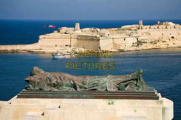 World War II Memorial, and harbour, taken from Lower Barracca Gardens, Valletta, Malta