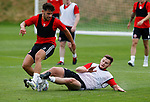 George Baldock of Sheffield Utd tackled by Jack O'Connell of Sheffield Utd during the training session at the Shirecliffe Training complex, Sheffield. Picture date: June 27th 2017. Pic credit should read: Simon Bellis/Sportimage