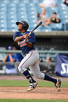 Justin Smith (18) of Bartram Trail High School in St. Johns, Florida playing for the Atlanta Braves scout team during the East Coast Pro Showcase on August 2, 2013 at NBT Bank Stadium in Syracuse, New York.  (Mike Janes/Four Seam Images)