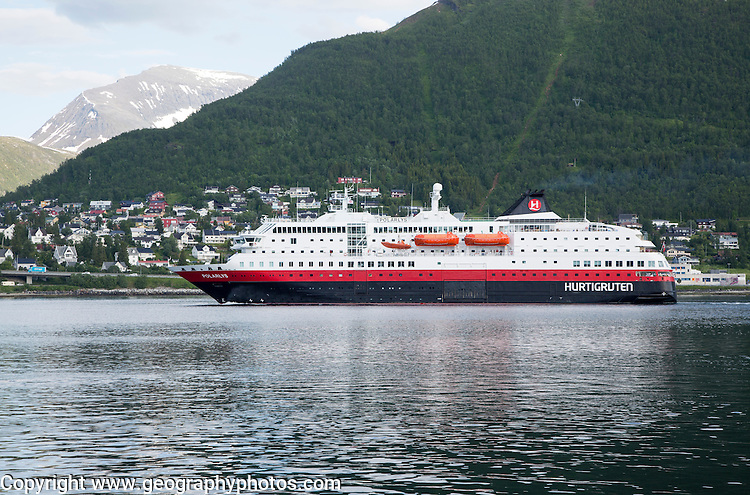 Hurtigruten ferry ship Polarlys in the harbour, Tromso, Norway