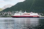 Hurtigruten ferry ship Polarlys in the harbour, Tromso, Norway