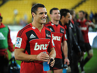 Dan Carter is all smiles after the win. Super 15 rugby match - Crusaders v Hurricanes at Westpac Stadium, Wellington, New Zealand on Saturday, 18 June 2011. Photo: Dave Lintott / lintottphoto.co.nz