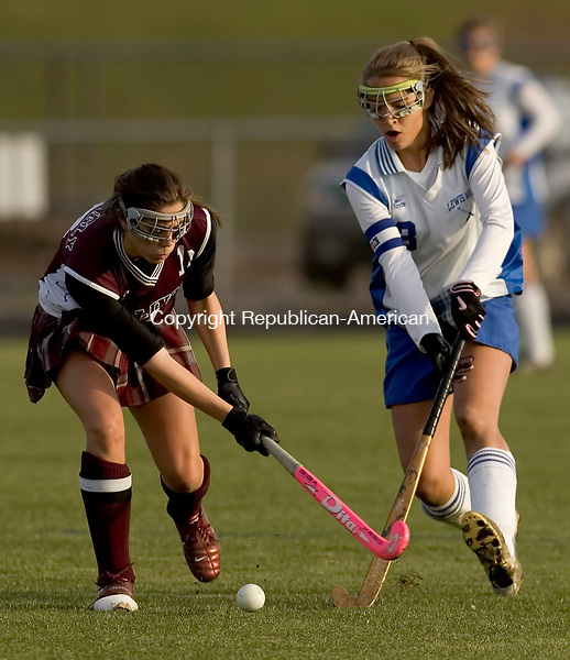 BURLINGTON, CT --08 SEPTEMBER 2007 -110807JS06-Lewis Mills' Hannah Cebry (3) battles Killingly's Stephanie Liebscher (18) for the ball during their Class S tournament game Thursday at Lewis Mills High School in Burlington. Lewis Mills won the game 4-0.<br />  Jim Shannon/Republican-American