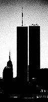 The silhouetted twin towers of the World Trade Center dominate the New York City skyline in the pre-9-11 days of summer 1999.  Digitally manipulated image.  (Photo by Brian Cleary/www.bcpix.com)