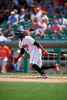 Indianapolis Indians Trayvon Robinson (6) at bat during an International League game against the Syracuse Mets on July 17, 2019 at Victory Field in Indianapolis, Indiana.  Syracuse defeated Indianapolis 15-5  (Mike Janes/Four Seam Images)