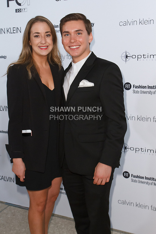 Kelsey Naughright and Scott Ptirvan arrive at the Future of Fashion 2017 runway show at the Fashion Institute of Technology on May 8, 2017.