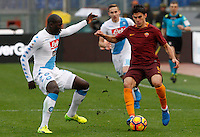 Roma&rsquo;s Diego Perotti, right, is challenged by Napoli's Kalidou Koulibaly during the Italian Serie A football match between Roma and Napoli at Rome's Olympic stadium, 4 March 2017. <br /> UPDATE IMAGES PRESS/Riccardo De Luca