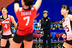 Team coach Kumi Nakada of Japan (R) during the FIVB Volleyball Nations League Hong Kong match between Japan and Argentina on May 31, 2018 in Hong Kong, Hong Kong. Photo by Marcio Rodrigo Machado / Power Sport Images