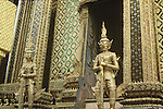 GOLDEN KINNARI GUARDS TEMPLE AT GRAND PALACE BANGKOK