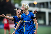 Seattle, WA - Saturday, July 1, 2017:  Megan Rapinoe and Merritt Mathias during a regular season National Women's Soccer League (NWSL) match between the Seattle Reign FC and the Portland Thorns FC at Memorial Stadium.