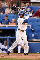 Dunedin Blue Jays outfielder Dalton Pompey (23) at bat during a game against the Daytona Cubs on April 16, 2014 at Florida Auto Exchange Stadium in Dunedin, Florida.  Dunedin defeated Daytona 5-1.  (Mike Janes/Four Seam Images)