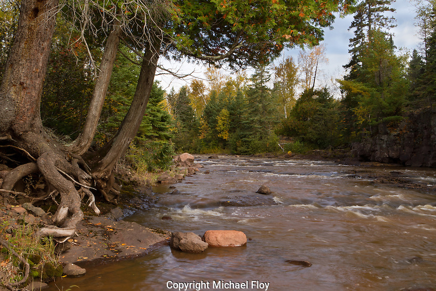 Gooseberry River above the Middle Falls of Gooseberry Falls State Park Minnesota.