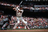 SAN FRANCISCO, CA - JULY 9:  Mac Williamson #51 of the San Francisco Giants bats against the Arizona Diamondbacks during the game at AT&T Park on Saturday, July 9, 2016 in San Francisco, California. Photo by Brad Mangin